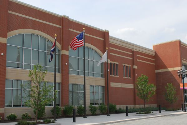 Romeoville Athletic and Event Center Exterior and Flags