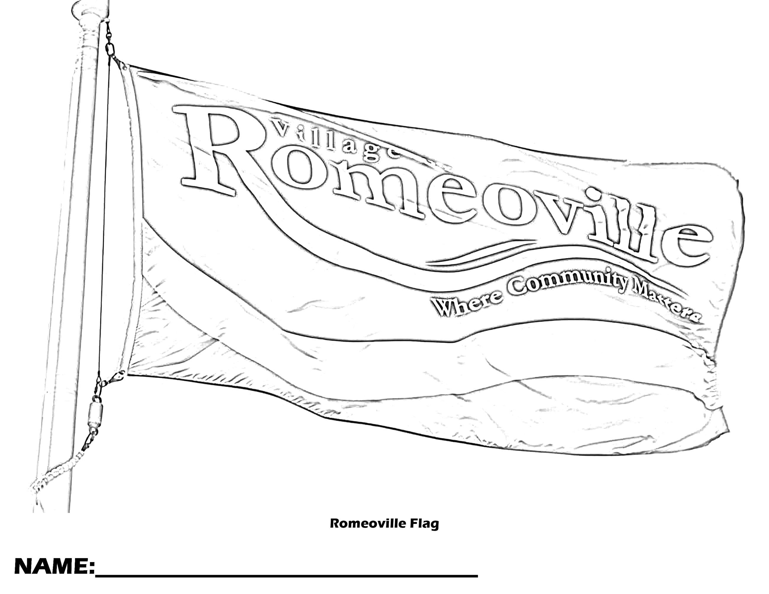 Romeoville Flag Coloring Page