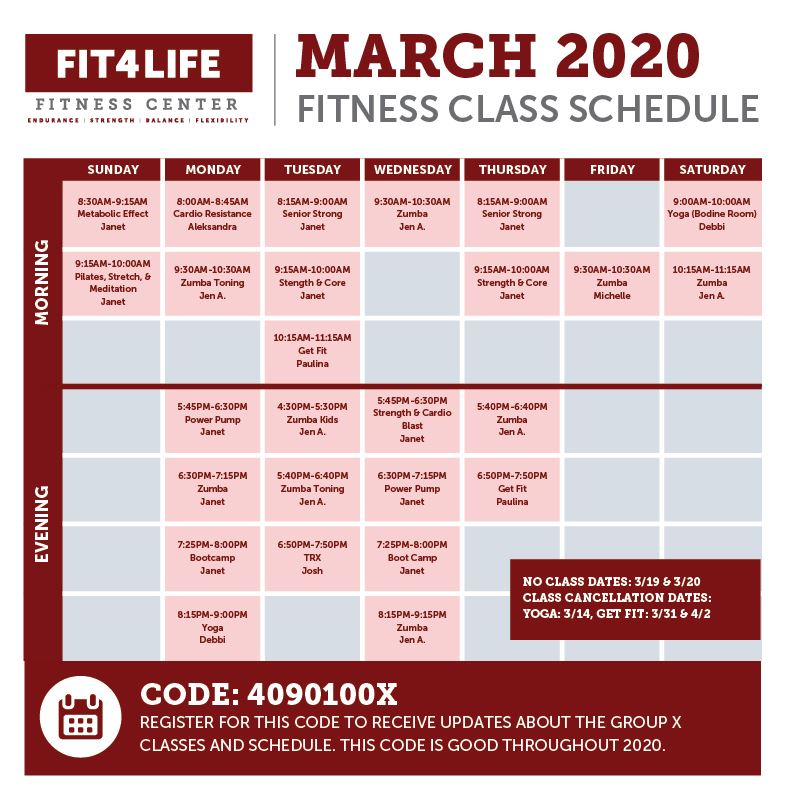 20082_Services_Fitness Center_Group Fitness Calendar_March-02